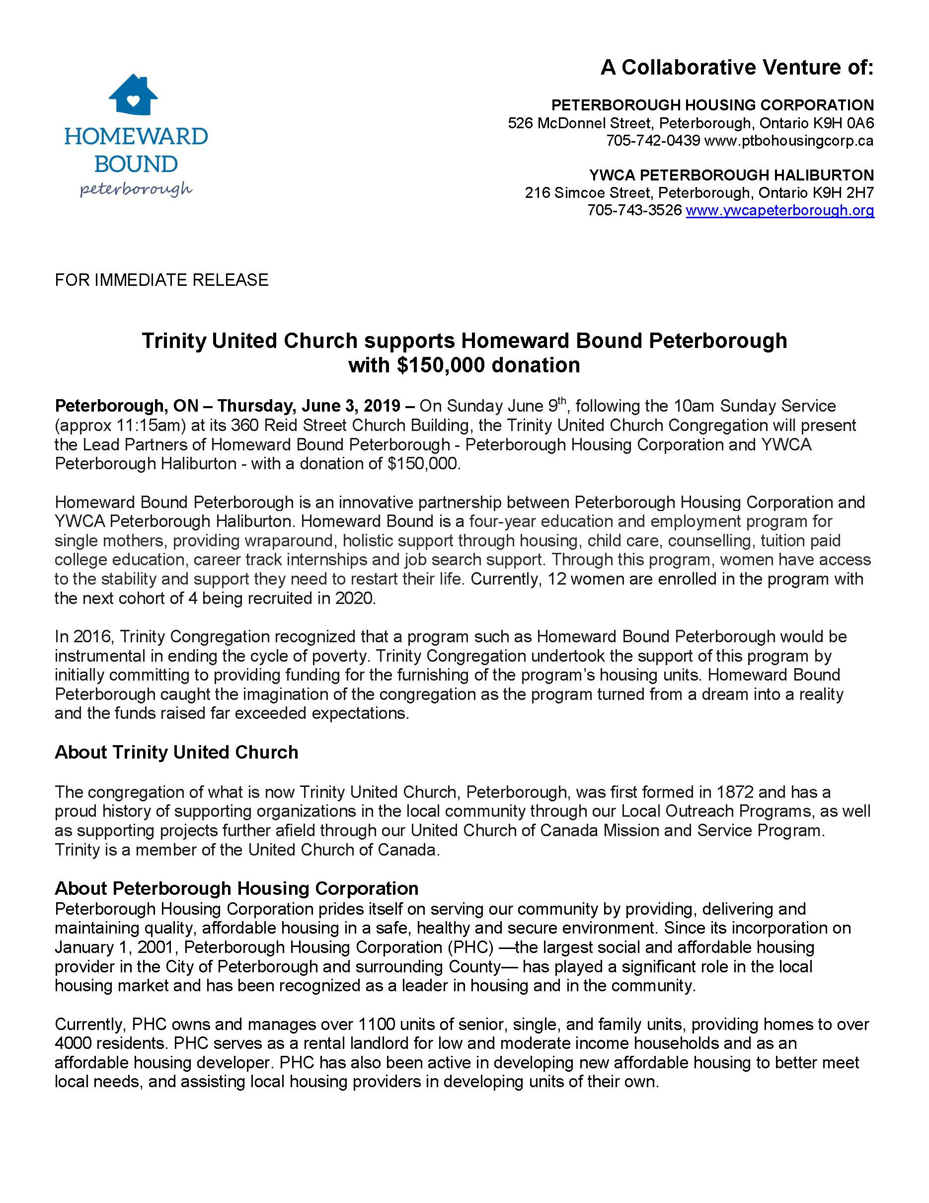 Media Release - Trinity United Church Supports Homeward Bound Peterborough Page 1